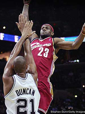Lebron over Duncan: image credit: Getty Images and NBA.com