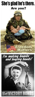Propaganda from different eras going back to WWI and Russian Revolution.