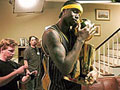 Jermaine ONeal and NBA Trophy.